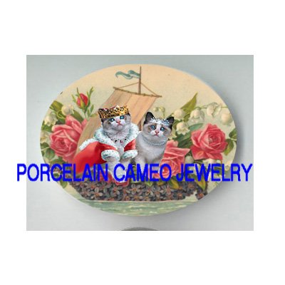 VICTORIAN QUEEN PRINCESS KITTY CAT ROSE LILY OF VALLEY VIOLET BOAT  * UNSET PORCELAIN CAMEO CAB