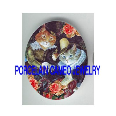 VICTORIAN SWEET KITTY CAT COUPLE ROSE* UNSET PORCELAIN CAMEO CAB