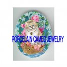 PRINCESS CAT VICTORIAN ROSE FORGET ME NOT BOAT  * UNSET PORCELAIN CAMEO CAB