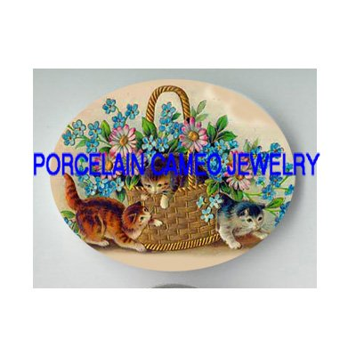 3 VICTORIAN KITTY CAT FORGET ME NOT DAISY BASKET  * UNSET PORCELAIN CAMEO CAB