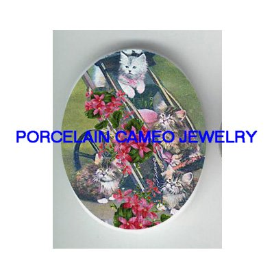 VICTORIAN KITTY CAT VIOLET WAGON* UNSET PORCELAIN CAMEO CAB