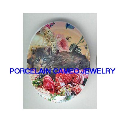 KITTY CAT WITH VICTORIAN ROSE* UNSET PORCELAIN CAMEO CAB