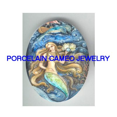 VICTORIAN MERMAID PEARL DOLPHIN * UNSET PORCELAIN CAMEO CAB