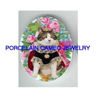 CROWN QUEEN KITTY CAT ROSE FORGET ME NOT  * UNSET PORCELAIN CAMEO CAB