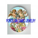 3 VICTORIAN ANGEL CHERUB WITH ROSE  * UNSET PORCELAIN CAMEO CAB