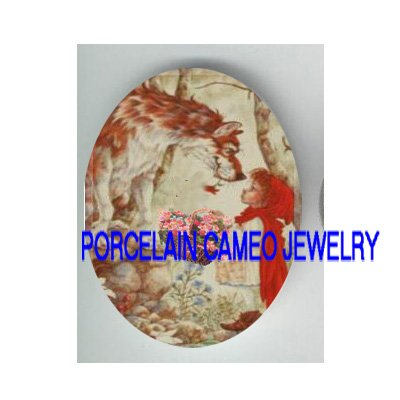 LITTLE RED RIDING HOOD WITH WOLF  * UNSET PORCELAIN CAMEO CAB