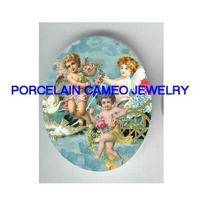 3 VICTORIAN ANGEL CHERUB DOVE CHARIOT   * UNSET PORCELAIN CAMEO CAB