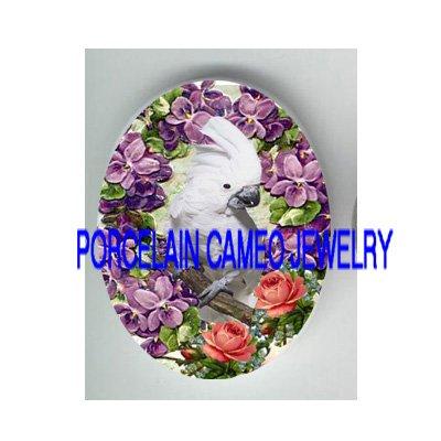 COCKATOO BIRD VICTORIAN VIOLET ROSE PORCELAIN CAMEO CAB 30X40