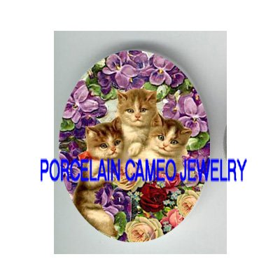 3 VICTORIAN KITTY CAT VIOLET ROSE  * UNSET PORCELAIN CAMEO CAB
