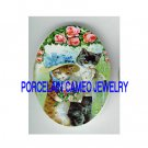 2 VICTORIAN KITTY ROSE WEDDING  * UNSET PORCELAIN CAMEO CAB