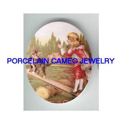 VICTORIAN GIRL PLAY SEESAW WITH KITTY CAT  * UNSET PORCELAIN CAMEO CAB