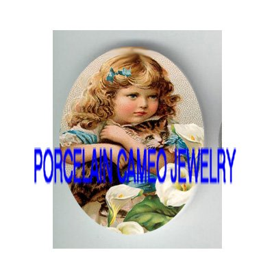 VICTORIAN BOW GIRL KITTY CAT CALLA LILY  * UNSET PORCELAIN CAMEO CAB