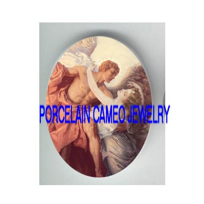 VICTORIAN ROCOCO RESCUE ANGEL  * UNSET PORCELAIN CAMEO CAB