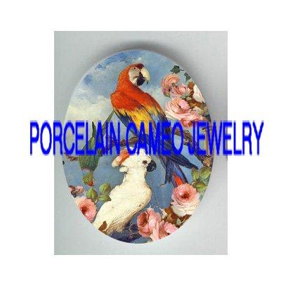 PARROT AND COCKATOO BIRD ROSE PORCELAIN CAMEO CAB 18X25MM