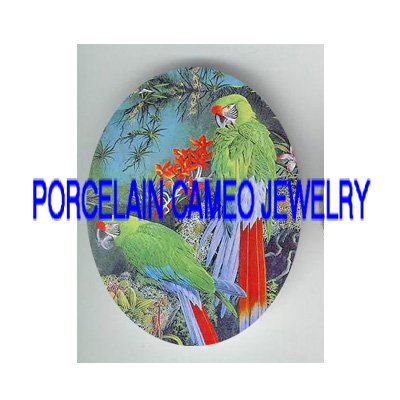 2 GREEN  PARROT MACAW BIRD TROPICAL FLOWER* UNSET PORCELAIN CAMEO CAB