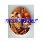 LITTLE RED RIDING HOOD WITH WOLF GRANDMA* UNSET PORCELAIN CAMEO CAB