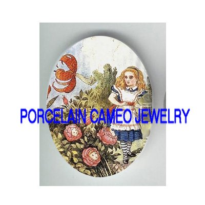ALICE IN WONDERLAND TALKING ROSE LILY  * UNSET PORCELAIN CAMEO CAB