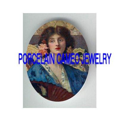 VICTORIAN FRENCH GEISHA KIMONO LADY FAN  * UNSET PORCELAIN CAMEO CAB