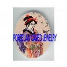 JAPAN GEISHA KIMONO LADY ROBIN BIRD  * UNSET PORCELAIN CAMEO CAB