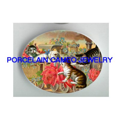 4 VICTORIAN KITTY CAT ROSE FORGET ME NOT TRAIN * UNSET PORCELAIN CAMEO CAB
