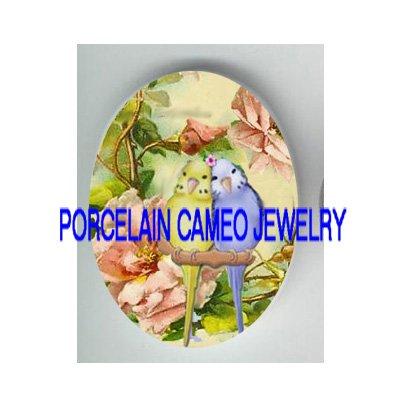 2 BABY PARAKEET BUDGIE BIRD ROSE PORCELAIN CAMEO 18X25