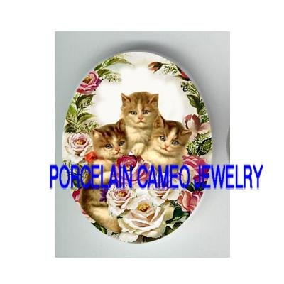 3 VICTORIAN KITTY CAT PINK ROSE  * UNSET PORCELAIN CAMEO CAB