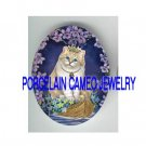 CROWN PRINCESS KITTY CAT VIOLET FORGET ME NOT BOAT * UNSET PORCELAIN CAMEO CAB