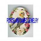 COCKATOO COCKATIEL BIRD PINK ROSE * UNSET PORCELAIN CAMEO CAB