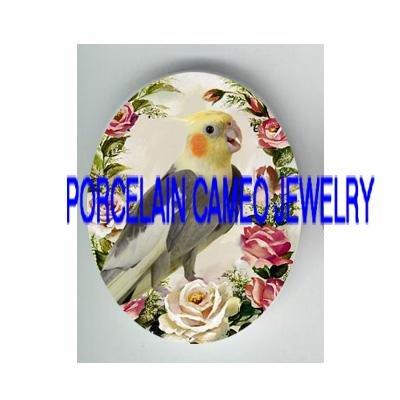 COCKATOO COCKATIEL BIRD PINK ROSE PORCELAIN CAMEO 18X25MM