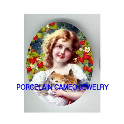 VICTORIAN STRAWBERRY GIRL HOLD KITTY CAT* UNSET PORCELAIN CAMEO CAB