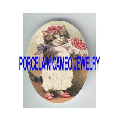 VICTORIAN VINTAGE BRIDE KITTY CAT* UNSET PORCELAIN CAMEO CAB