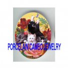 4 VICTORIAN KITTY CAT ROSE BUTTERFLY* UNSET PORCELAIN CAMEO CAB