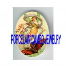 VICTORIAN DRAGONFLY FAIRY RIDING BUTTERFLY * UNSET PORCELAIN CAMEO CAB
