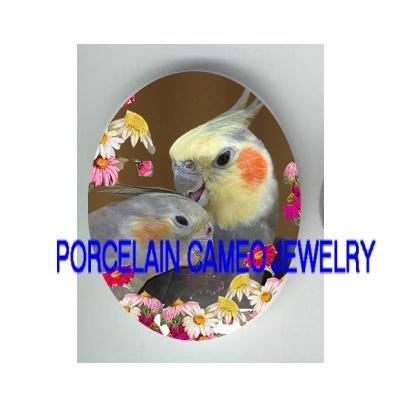2 KISSING COCKATOO COCKATIEL BIRD DAISY PORCELAIN CAMEO18X25MM