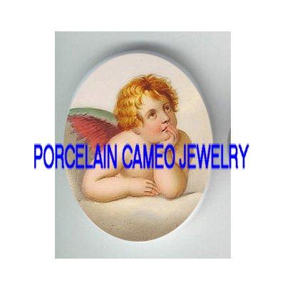 VICTORIAN RAPHAEL ANGEL CHERUB* UNSET PORCELAIN CAMEO CAB