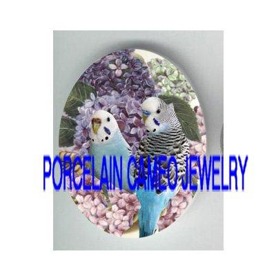 2 PARAKEET BUDGIE BIRD HYDRANGEA PORCELAIN CAMEO 18X25