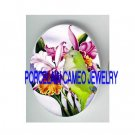 QUAKER BIRD WITH ORCHID * UNSET PORCELAIN CAMEO CABOCHON 18X25