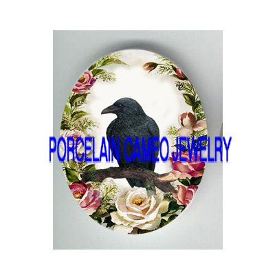 CROW RAVEN BIRD VICTORIAN ROSE PORCELAIN CAMEO 18X25 MM