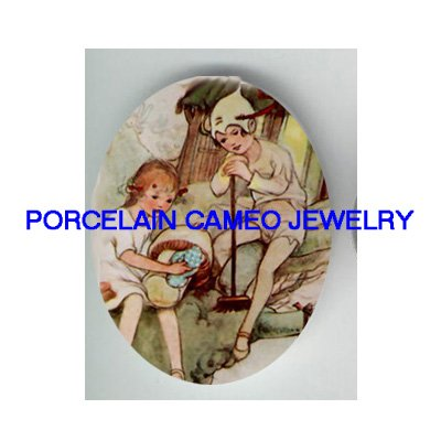 VICTORIAN PETER PAN MUSHROOM FAIRY* UNSET PORCELAIN CAMEO CAB