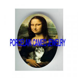 MONA LISA HOLDING KITTY CAT * UNSET PORCELAIN CAMEO CAB