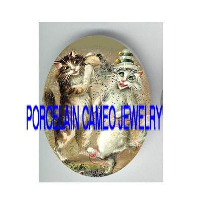 2 VICTORIAN PARTY CONFETTI KITTY CAT * UNSET PORCELAIN CAMEO CAB
