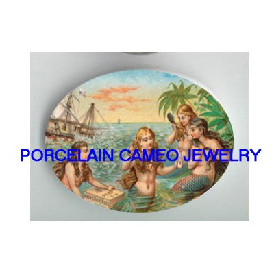 VICTORIAN MERMAID ISLAND PIRATE SHIP* UNSET PORCELAIN CAMEO CAB