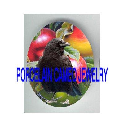 CROW RAVEN BIRD EAT APPLE PORCELAIN CAMEO 18X25 CAB