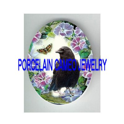 CROW RAVEN MORNING GLORY BUTTERFLY PORCELAIN CAMEO 18X25 CAB