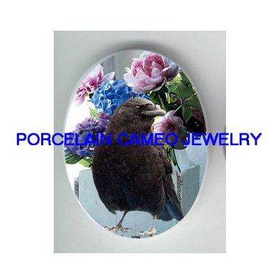 CROW RAVEN BIRD HYDRANGEA ROSE PORCELAIN CAMEO 18X25