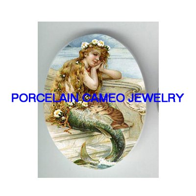 VICTORIAN MERMAID WITH KITTY CAT * UNSET PORCELAIN CAMEO CAB