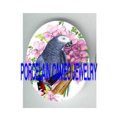 AFRICAN GREY PARROT BIRD VIOLET PORCELAIN CAMEO 25X18MM