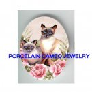 2 SIAMESE CAT PINK ROSE * UNSET PORCELAIN CAMEO CAB