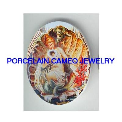 VICTORIAN MERMAID SEASHELL CORAL * UNSET PORCELAIN CAMEO CAB