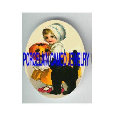 VICTORIAN HALLOWEEN GIRL PUMPKIN BLACK CAT* UNSET PORCELAIN CAMEO CAB